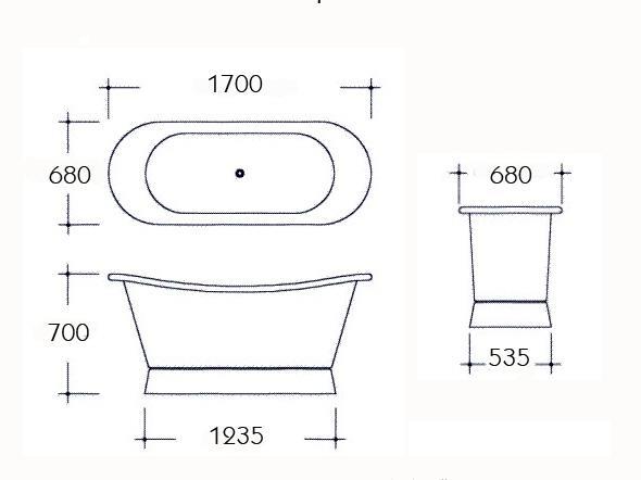 Tinas De Baño Dimensiones:Bañera de cobre Cuprosa – Bañeras de patas y decoración clásica de