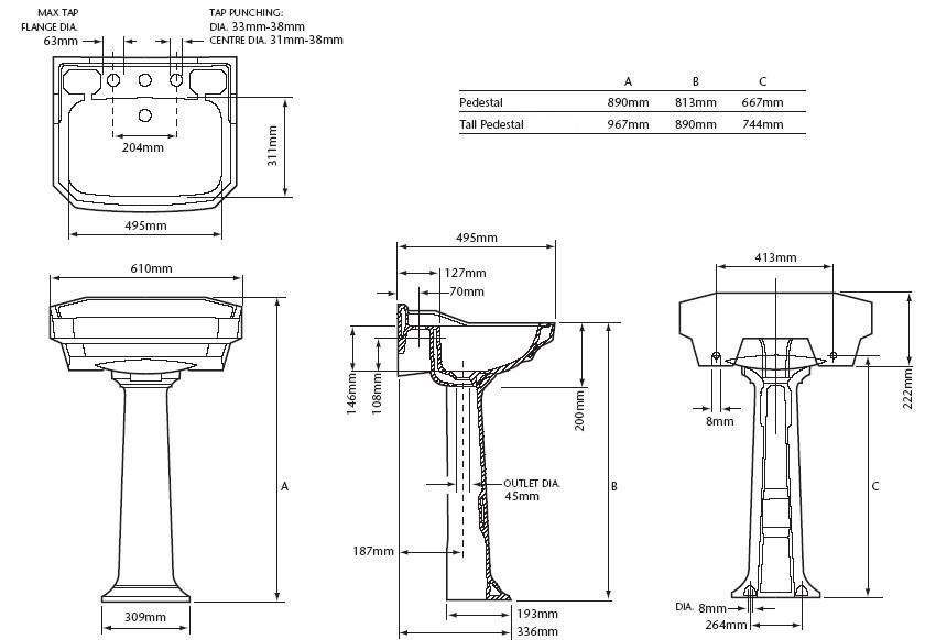 Lavabo de pie granley ba eras de patas y decoraci n for Medidas de lavabos